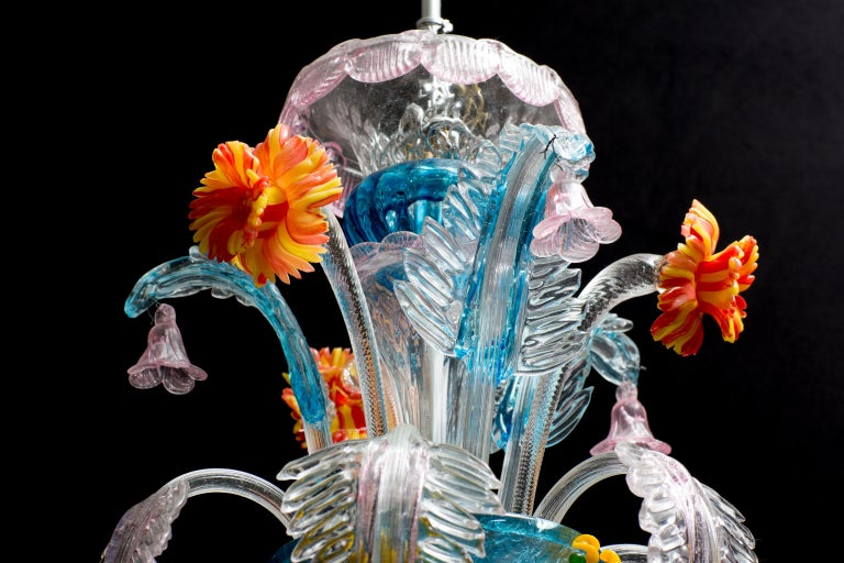 Hand-Crafted Midcentury Italian Venetian Murano Glass Chandelier by Galliano Ferro For Sale