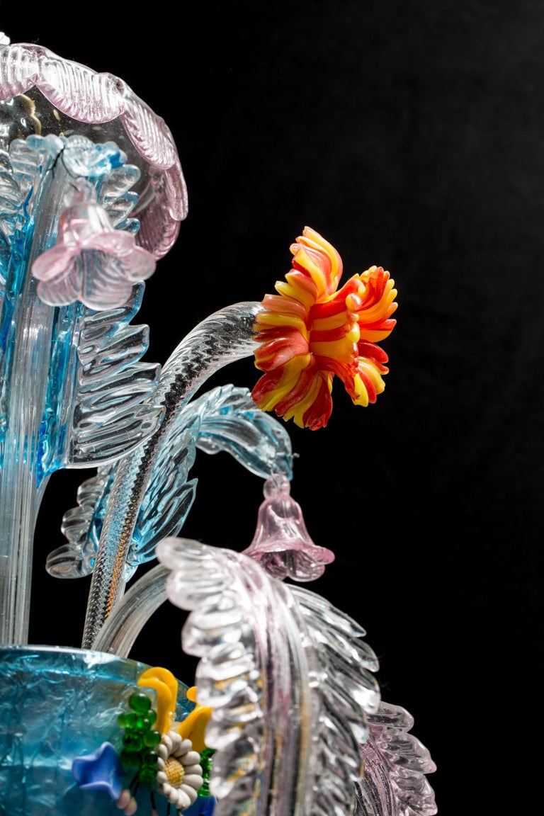 Midcentury Italian Venetian Murano Glass Chandelier by Galliano Ferro For Sale 4