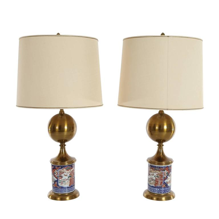 Pair of Midcentury Table Lamps Chinese Decor Porcelain Base