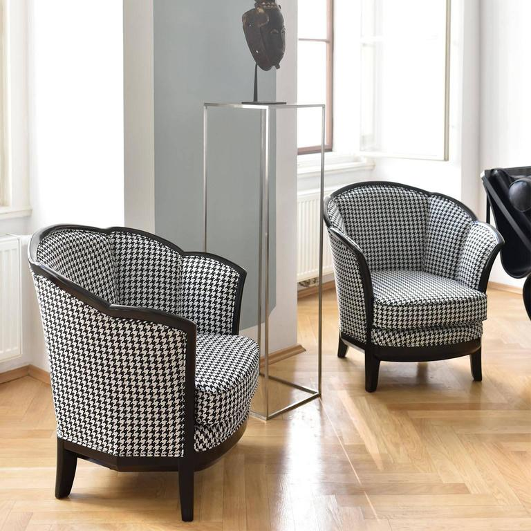 Two French Art Deco Club Chairs France 1930s In Black