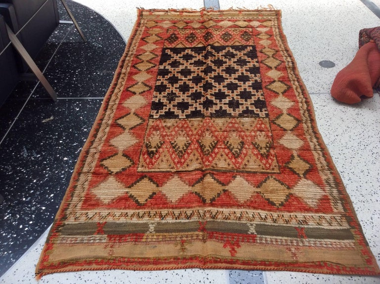 Hand-Knotted Vintage Moroccan Rug For Sale