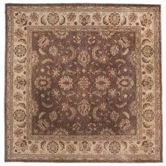 Traditional Pakistani Brown Square Rug