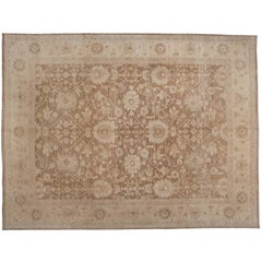 Traditional Pakistani Brown Floral Wool Area Rug