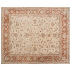 Red and Beige Traditional Pakistani Area Rug
