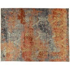 Red and Gold Transitional Indian Wool Area Rug