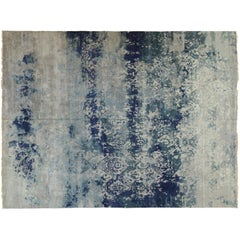 Blue and Silver High Low Indian Wool Area Rug