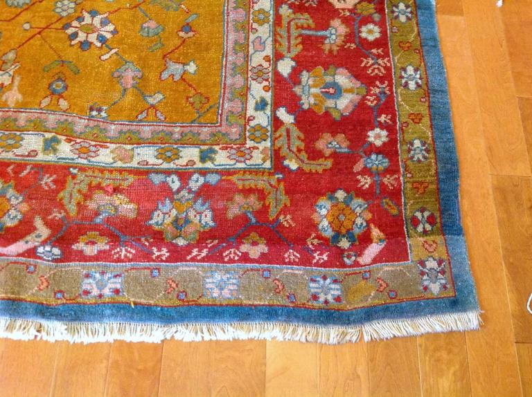 Hand-Knotted Antique Turkish Oushak Rug, circa 1880 For Sale