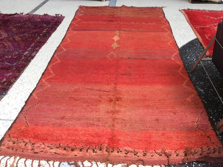 Vintage red Moroccan rug.
