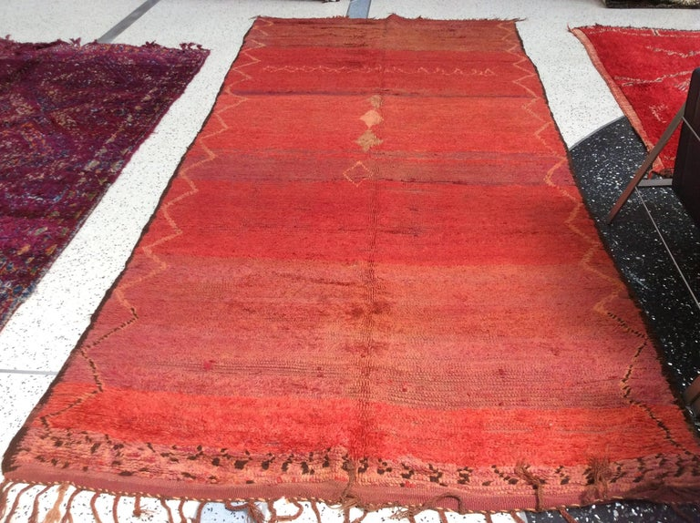 Hand-Knotted Vintage Red Moroccan Rug For Sale