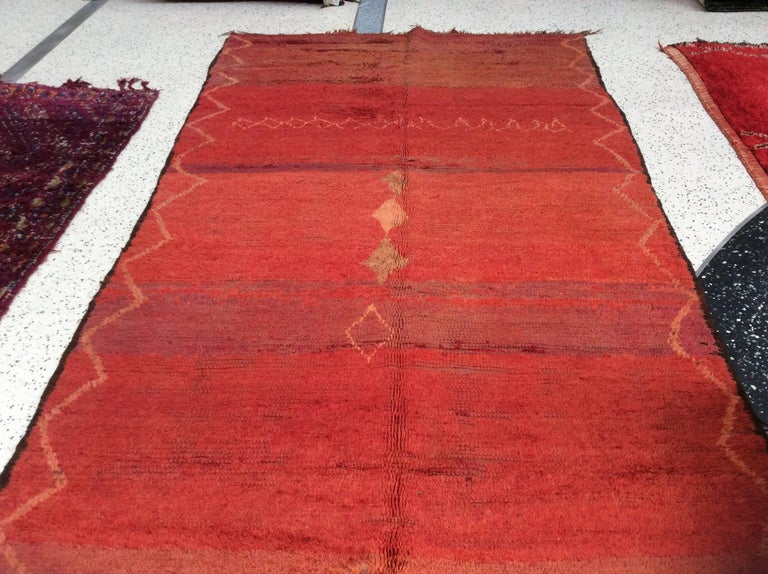 Vintage Red Moroccan Rug In Excellent Condition For Sale In Los Angeles, CA