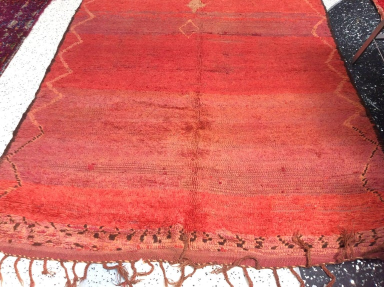 20th Century Vintage Red Moroccan Rug For Sale