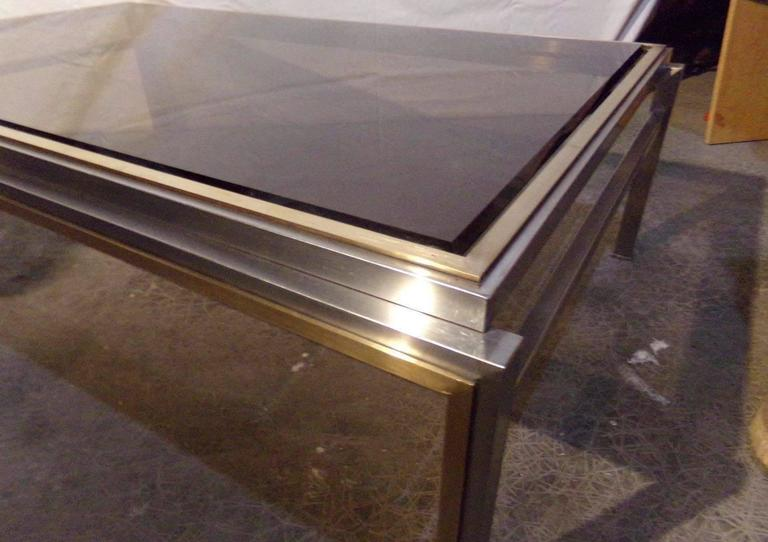 Nice Willy Rizzo Coffee Table, 1970s, Chrome / Gilded Chrome, Smoked Glass Top 4