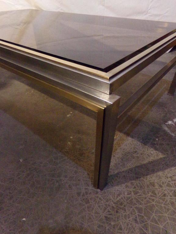 Nice Willy Rizzo Coffee Table, 1970s, Chrome / Gilded Chrome, Smoked Glass Top 2