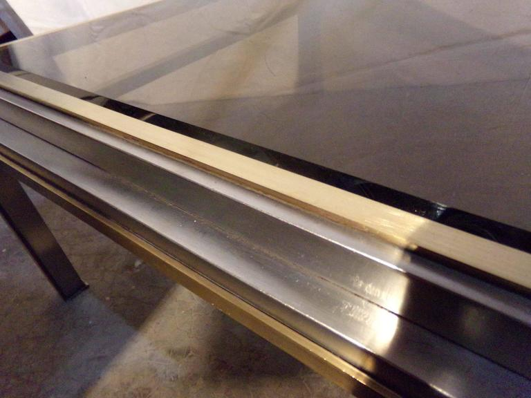 Nice Willy Rizzo Coffee Table, 1970s, Chrome / Gilded Chrome, Smoked Glass Top 3