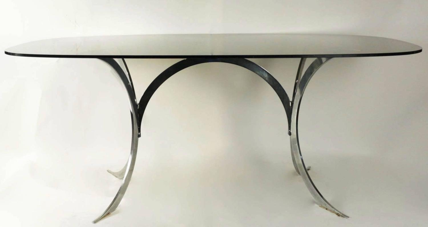 1970s oval dining room table chrome base smoked glass top french