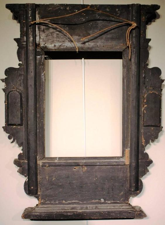 Very rare 17th century tabernacle frame mounted as mirror for 17th century mirrors