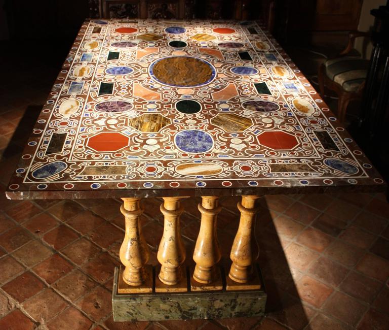 Florentine Dining Room: Rare 19th Century Florentine Table, Inlay Of Hard Stones