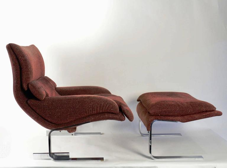"Pair of ""Onda"" Lounge Armchairs with Matching Footstools by G. Offredi, 1970s 2"