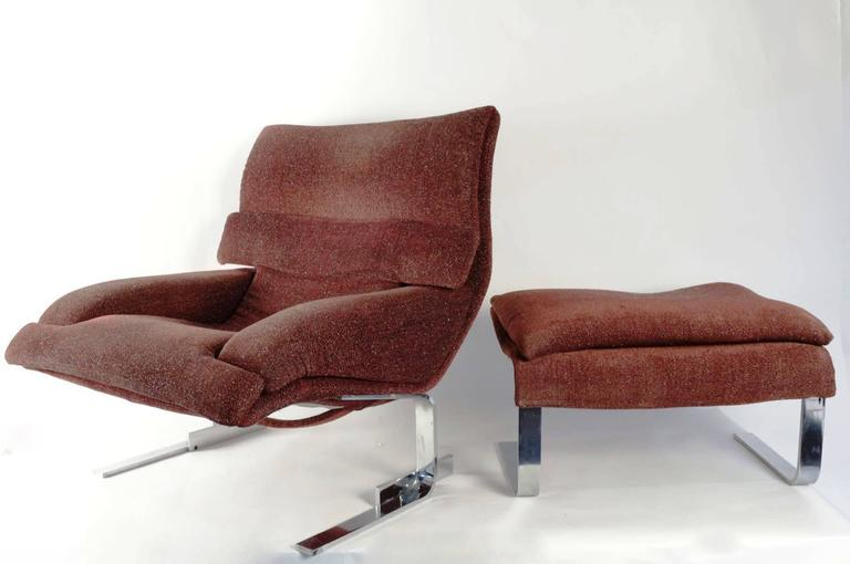 "Pair of ""Onda"" Lounge Armchairs with Matching Footstools by G. Offredi, 1970s 3"