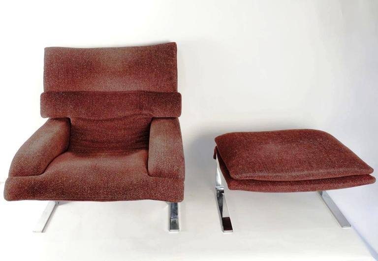 "Pair of ""Onda"" Lounge Armchairs with Matching Footstools by G. Offredi, 1970s 7"