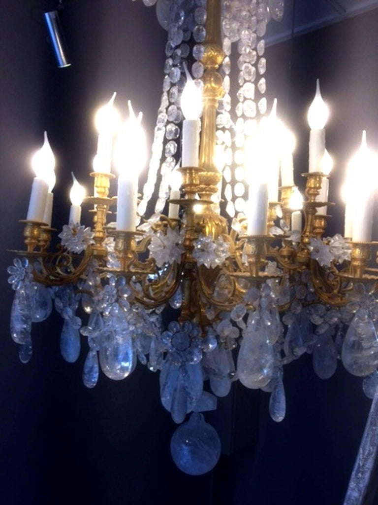 Louis XVI Fabulous Rock Crystal and Chiseled Gilt Bronze Chandelier, Lousi XVI Style, 2016 For Sale
