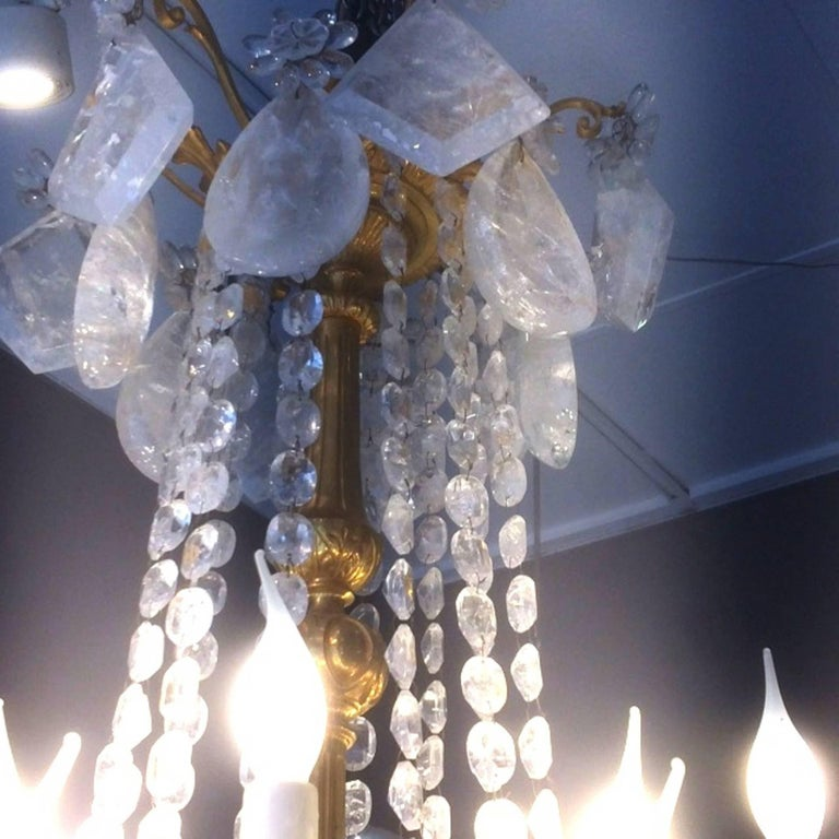French Fabulous Rock Crystal and Chiseled Gilt Bronze Chandelier, Lousi XVI Style, 2016 For Sale