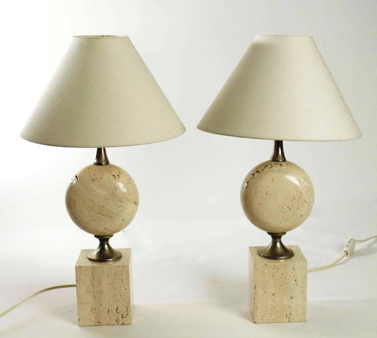 French Rare Pair of Lamps by Philippe Barbier, Travertine and metal, France, Late 1960s For Sale