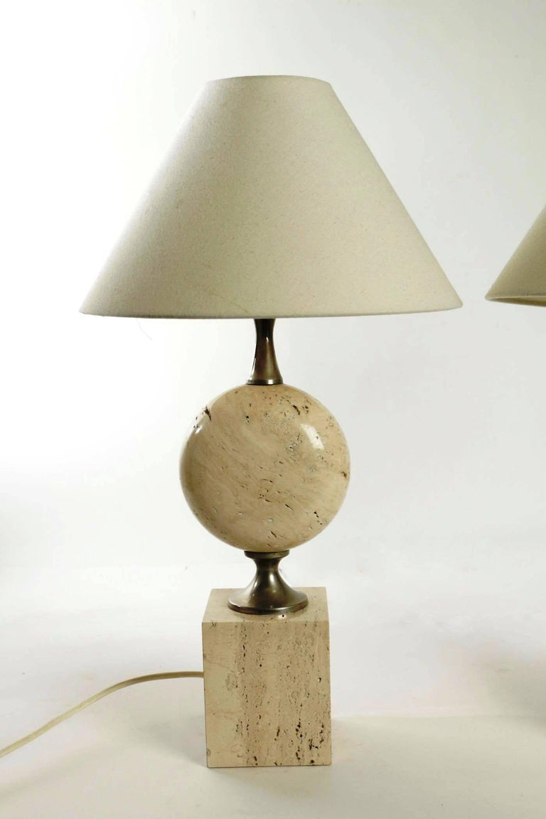 Rare Pair of Lamps by Philippe Barbier, Travertine and metal, France, Late 1960s In Excellent Condition For Sale In Saint-Ouen, FR