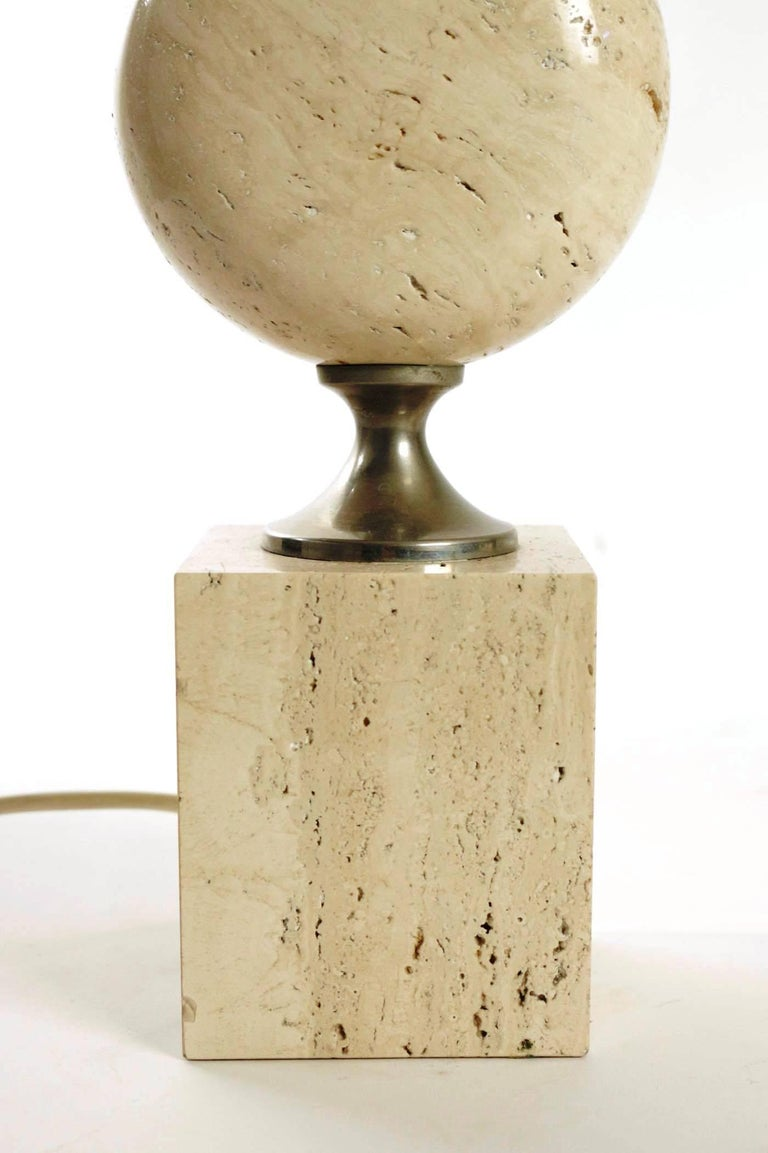 Mid-20th Century Rare Pair of Lamps by Philippe Barbier, Travertine and metal, France, Late 1960s For Sale