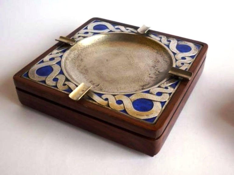 Fantastic Smoking Set, by Ottaviani, Silver, Enamel and Wood, Italy, Late 1970s In Good Condition In Saint-Ouen, FR