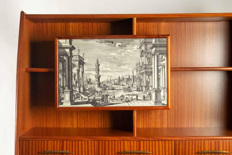 Nice writing desk cabinet with printed architectural view on door, Italy,