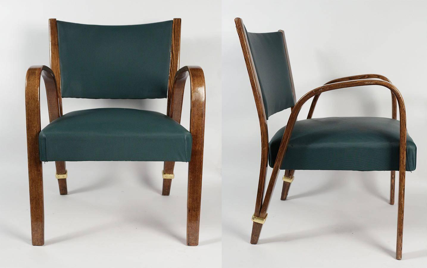 elegant pair of bow wood armchairs by steiner 1950s at. Black Bedroom Furniture Sets. Home Design Ideas
