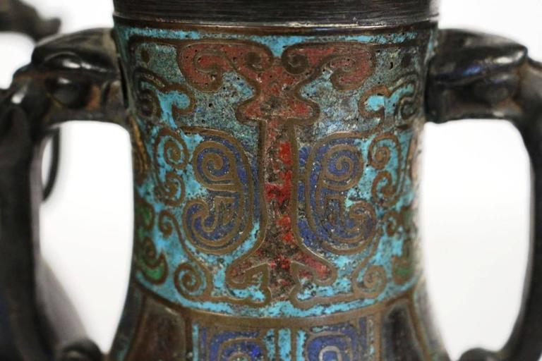 Pair of Bronze and Cloisonné Vases, Japan Champlevé, 19th Century In Good Condition For Sale In Saint-Ouen, FR