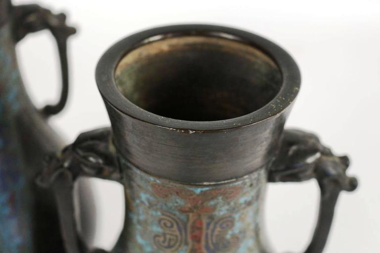 Pair of Bronze and Cloisonné Vases, Japan Champlevé, 19th Century For Sale 1