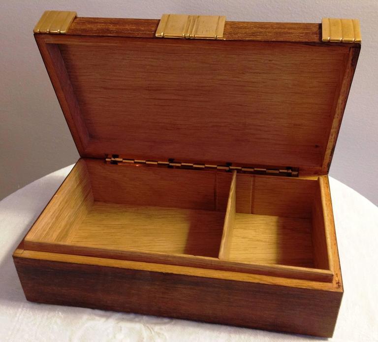 Art Deco Beautiful Cigar Box, Mahogany and Gilded Bronze, Boin Taburet, Paris, circa 1930 For Sale