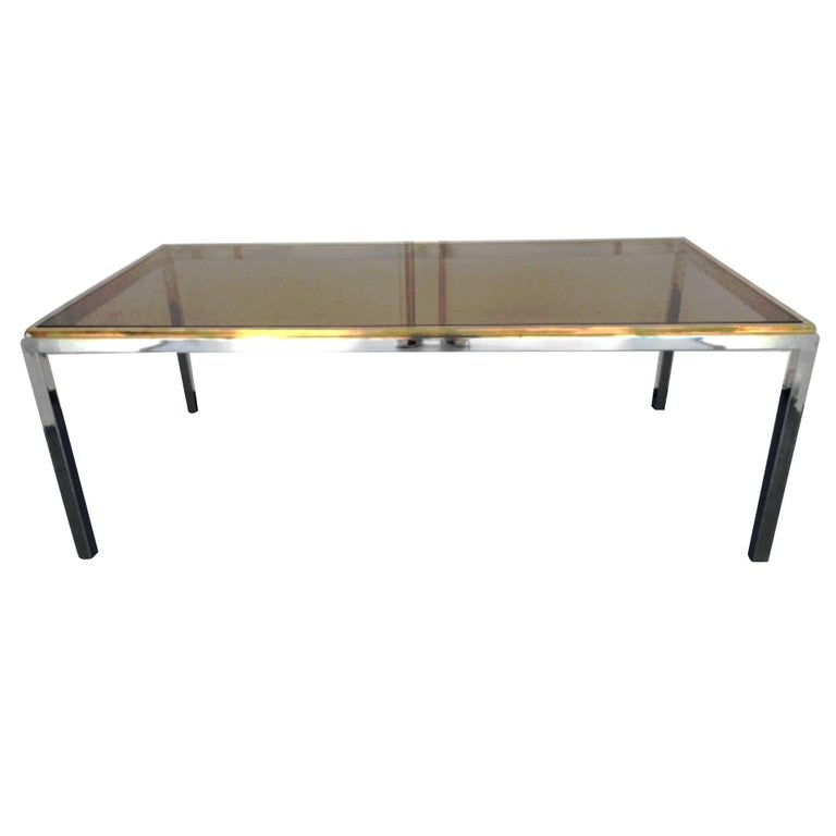 Beautiful Flaminia Table by Willy Rizzo, Chrome, Gilded Brass, France, 1970s For Sale
