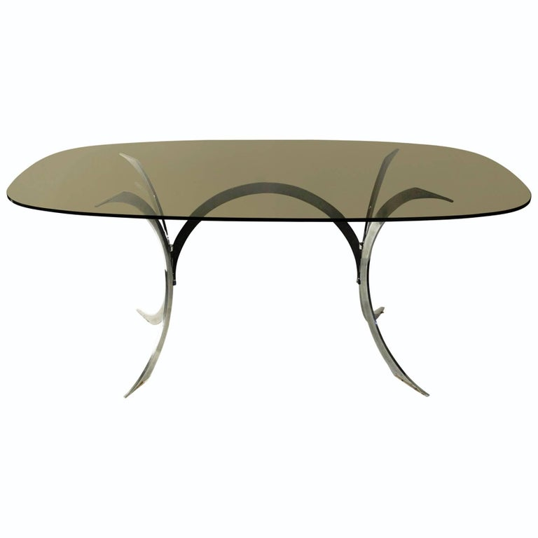1970s Oval Dining Room Table, Chrome Base, Smoked Glass Top, French
