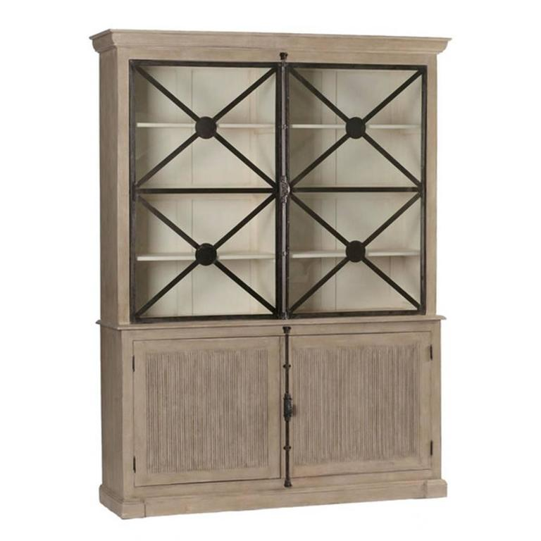 Large walden french country cabinet with glass doors for for Large glass french doors