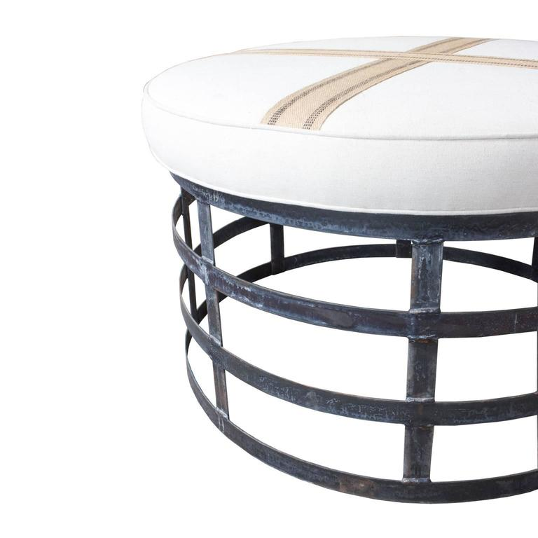 Industrial Coffee Table Ottoman: Oversized Round Industrial Style Ottoman With Cotton Linen