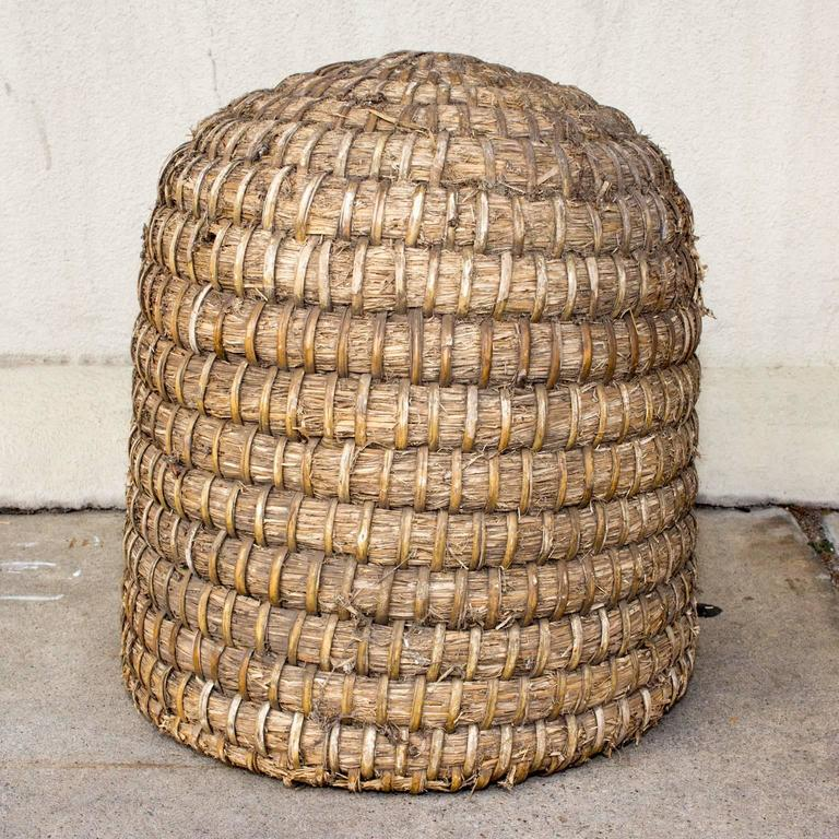 Antique french woven straw and wicker skep beehive at 1stdibs - Wicker beehive basket ...