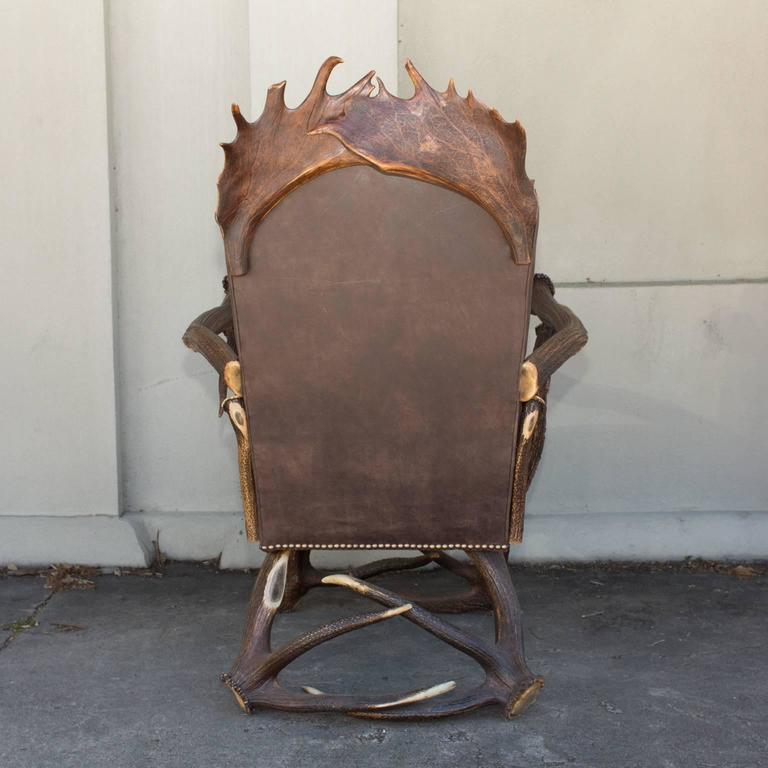 Peachy Antique Habsburg Red Stag Antler Leather Chair And Ottoman Evergreenethics Interior Chair Design Evergreenethicsorg