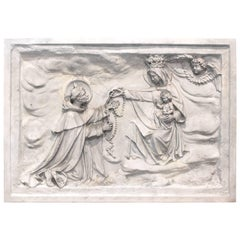 Antique Belgian Altarpiece Plaster Relief of Saint Dominic, Rosary, Mary & Jesus