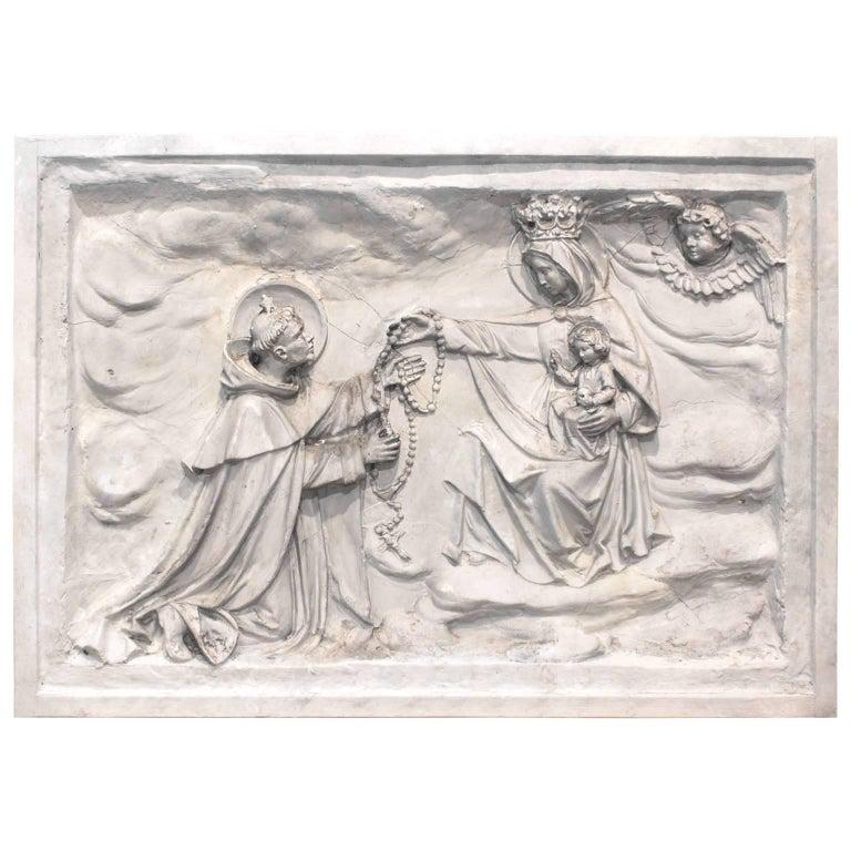 Antique Belgian Altarpiece Plaster Relief of Saint Dominic, Rosary, Mary & Jesus