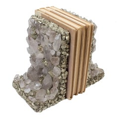 Handmade Quartz Crystal and Pyrite Bookends