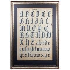Antique French Gothic Calligraphy Original Art