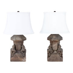 Pair of Antique French Gothic Wood Architectural Fragment Lamps