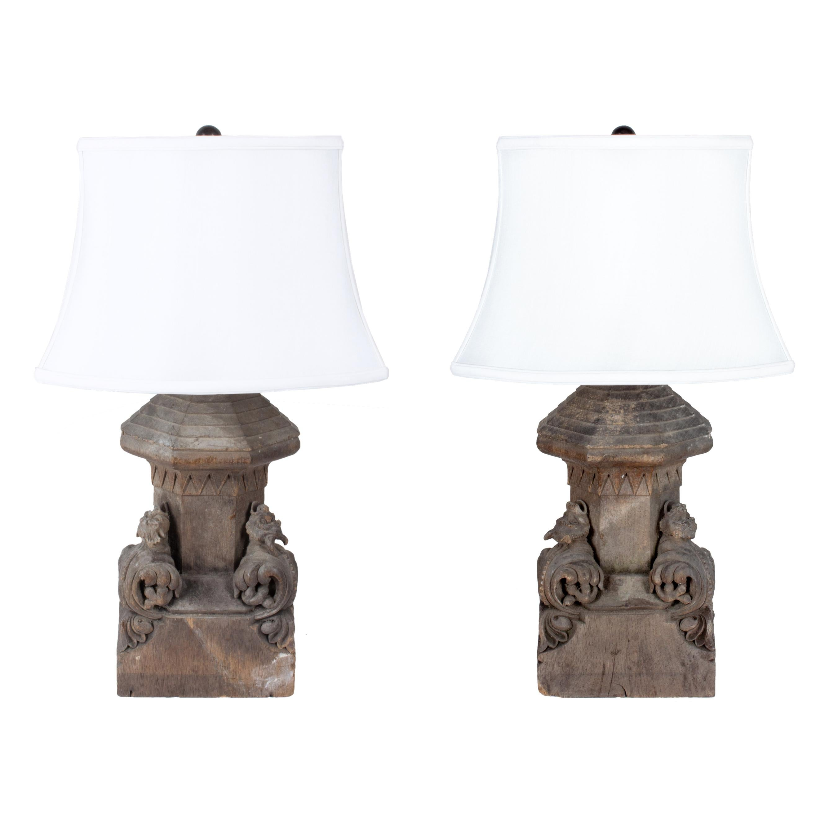 Superbe Pair Of Antique French Gothic Wood Architectural Fragment Lamps