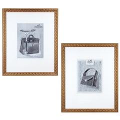 Framed 1950s French Hermès Handbag Print Ads