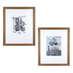 Framed Vintage French Hermès Luggage Print Ads