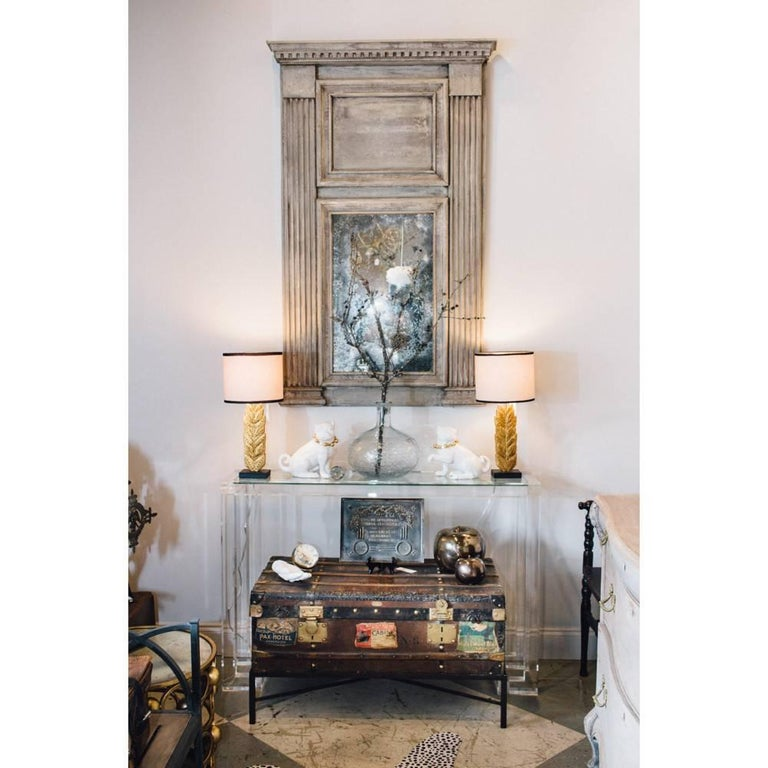 Modern Ava Lucite Console Table with Glass Top For Sale